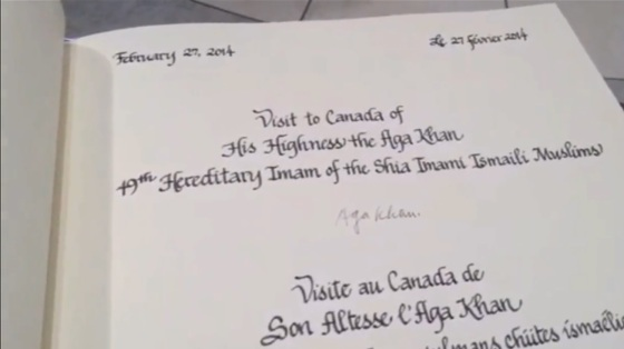 Mawlana Hazar Imam's signature in the Visitor's Book from the signing ceremony shown in a previous photo. Credit: Post Media Clip.