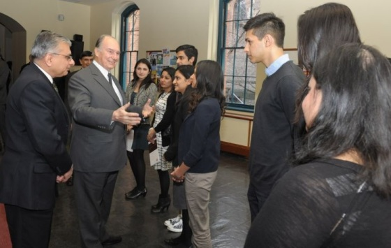 His Highness the Aga Khan meets with Ismaili students at Brown University.