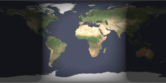 Earth Cylindrical Projection 2013-03-21 0012UT. NASA Image. Please click on image to download Nawruz booklet.