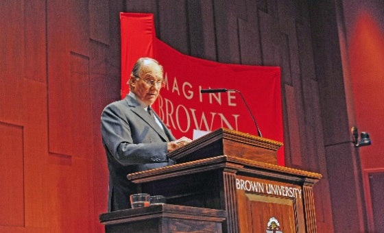 "His Highness the Aga Khan delivers an Ogden lecture titled ""Modern governance in a more complex world: Challenges and responses"" at Brown University. - Photo: AKDN / Aly Z. Ramji"