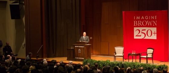 His Highness the Aga Khan visited Brown at the invitation of University President Christina Paxson. His Ogden Lecture was part of the school's 250th anniversary celebrations. - Photo: AKDN / Farhez Rayani