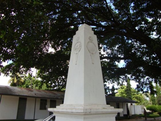 """The Aga Khan Ismaili Council for Tanzania has this monument in the current cemetery to honour of three """"Shaheeds. Photo: Kamrudin A Rashid Collection Toronto. Copyright."""