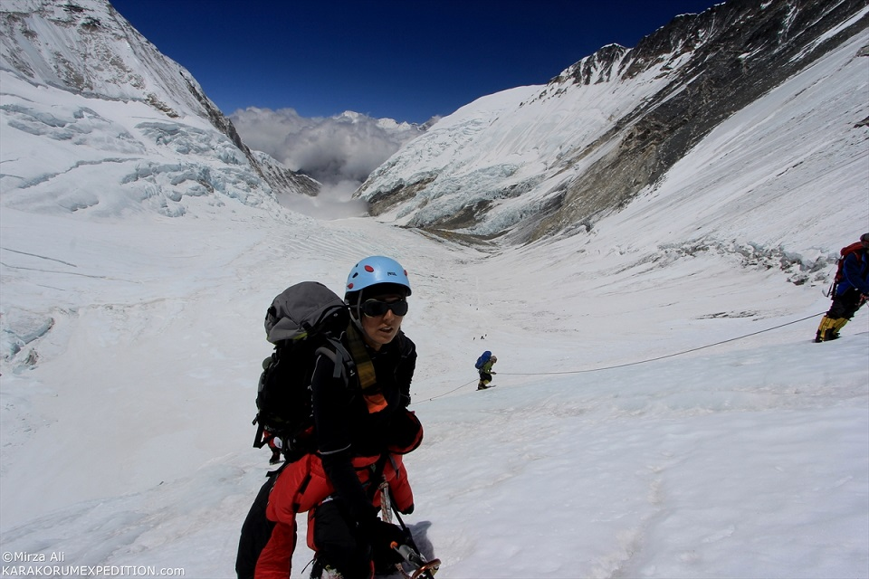 Samina Baig climbing Mt. Everest. Photo: Mirza Ali. Copyright.