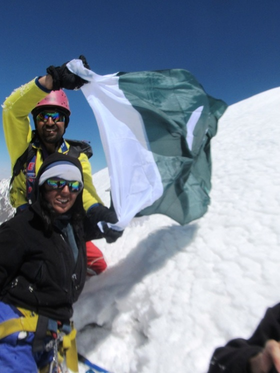 Samina Baig and Mirza Ali on Mt. Everest. Photo: Mirza Ali. Copyright.