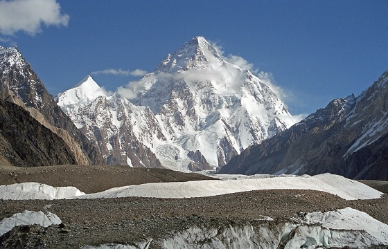 A spectacular photo of the world's 2nd highest mountain - and arguably the most dangerous to climb - the K2 (8,611 m or 28,251 ft) in the Gilgit-Balistan region of Northern Pakistan. Photo: Wikipedia.