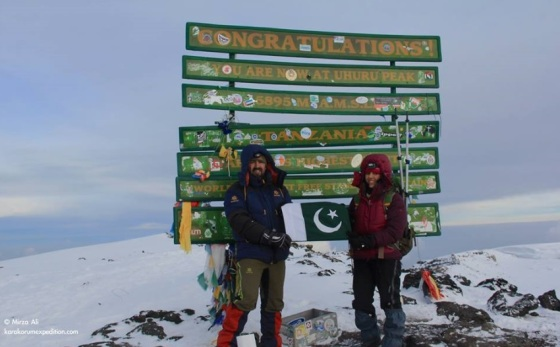 Samina Baidg and Mirza Ali at Uhuru Peak (5895m), the summit of Mt. Kilimanjaro in Tanzania, Africa's highest mountain, on February 12, 2014. Photo: Samina Baig's Facebook page. Copyright.