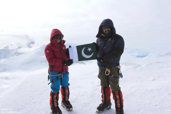 Samina Baig and her brother Mirza Ali at the summit of Mt. Vinson in Antartica on January 17, 2014. Photo: Samina Baig's Facebook page. Copyright.