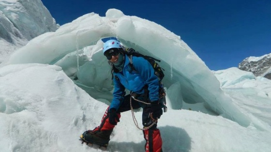 Samina Baig after touching Camp III (7000m) through the Khambu Ice fall, while coming back to base camp at Mt. Everest. Photo: Samina Baig's Facebook page. Copyright.