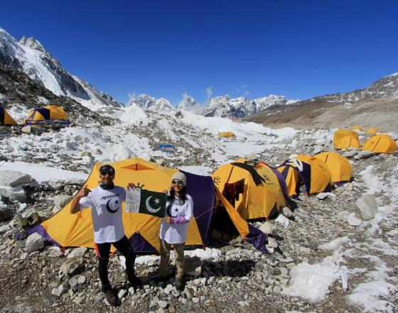 Samina Baig at base camp of Everest with Bhai (brother) Mirza Ali. Photo: Samina Baig's Facebook page. Copyright.
