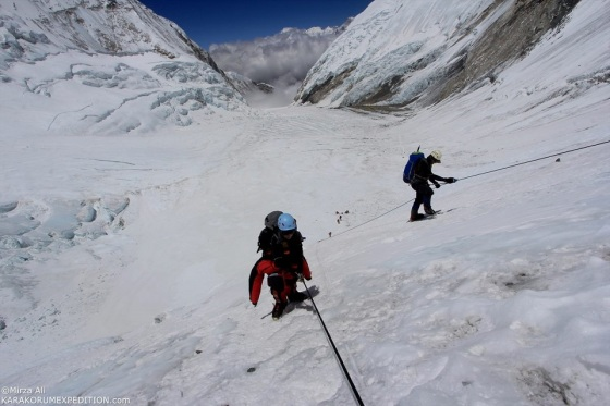 Samina Baig on the 'hard blue-iced' Lhotse Face of Mt. Everest. Photo: Mirza Ali. Copyright.
