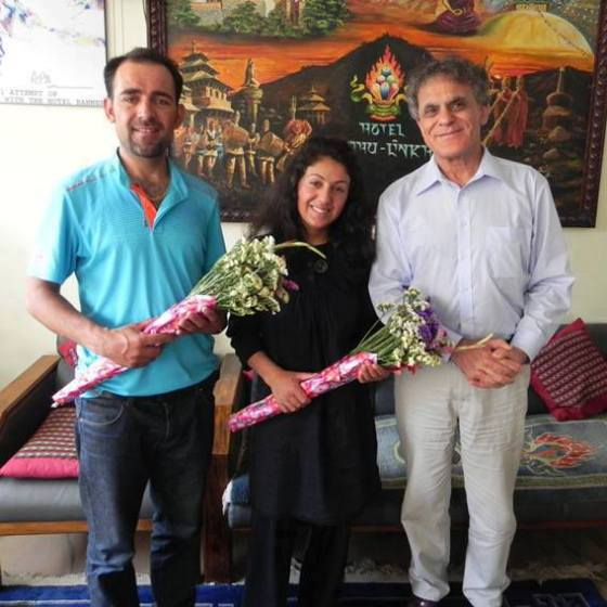 Samina Baig and Mirza Ali pictured with Nazir Sabir (right) in Nepal. Photo: Samina Baig Facebook page. Copyright.