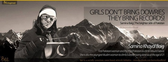 Samina Baig championing women's equality and rights through this banner as well as her mountain climbing. Photo: Samina Baig's Facebook page. Copyright.