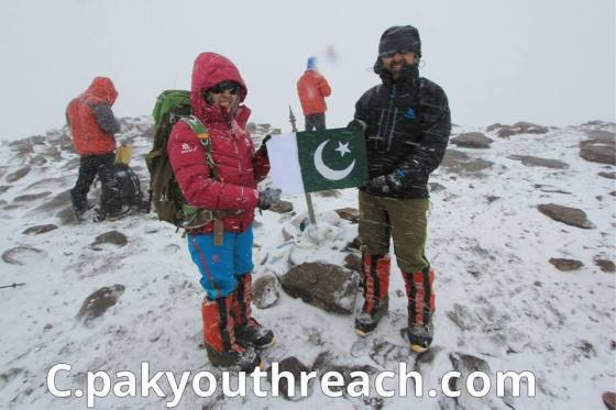 Samina and Mirza Ali at summit of South America's highest mountain in Argentina, Mt. Aconcagua, on December 13, 2013.