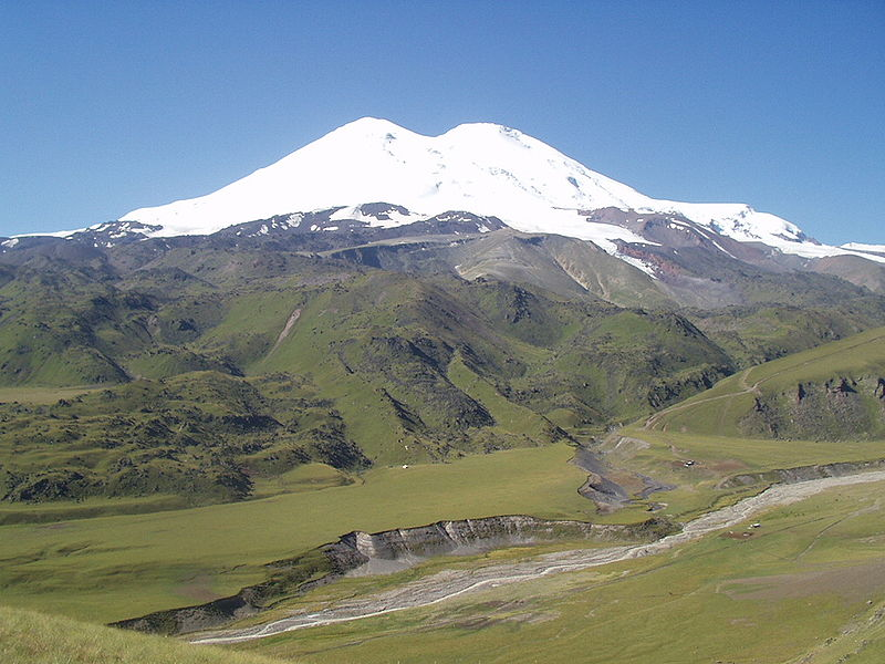 While there are differing explanations on how the Caucasus Mountain Range is distributed between Europe and Asia, it is generally accepted  that Mount Elbrus (18,510ft) is in Europe and is therefore the highest mountain in all of Europe. Photo: Wikipedia.