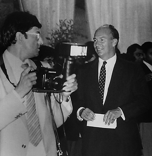 Sarfraz Sadaruddin taking pictures during His Highness the Aga Khan's Vancouver Silver Jubilee visit in 1983.