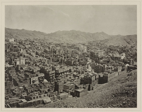 "An 1889 photo showing a view of the city of Mecca. Photograph attributed to al-Sayyid ʻAbd al-Ghaffār by scholar Claude Sui. (Source: ""Travel to the Holy Land and photography in the nineteenth century"" by Claude Sui. Chapter in: To the Holy Lands: Pilgrimage centres from Mecca and Medina to Jerusalem. Mannheim: Reiss-Engelhorn Museum, 2008, pages 56-63). Credit: USA Library of Congress. Please click on image for article by Omid Safi"