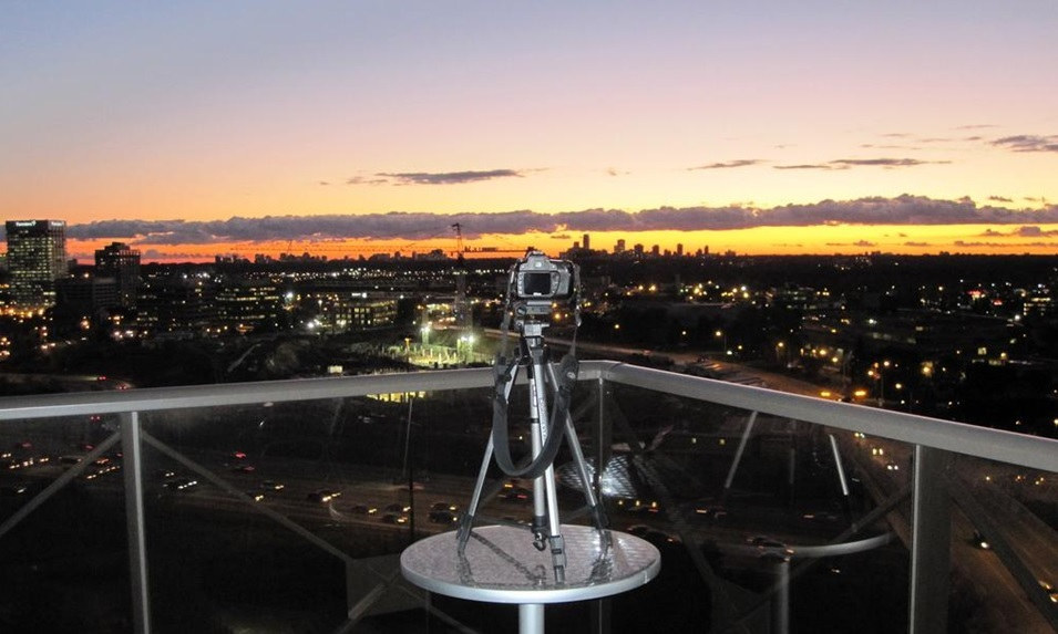 Jim Bowie's camera aimed at the construction site of the Aga Khan Museum, the Ismaili Centre and their Park. Photo: Jim Bowie