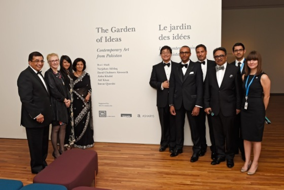"Henry Kim, the CEO of the Aga Khan Museum pictured with members of Aljomaih Group, Trimark Capital, and Asharys who supported the inaugural exhibition entitled ""The Garden of Ideas: Contemporary Art from Pakistan."" Pictured (l to r): Aziz Shariff, Ann Smiley, Carolina Shariff, Ashraf Shariff, Henry Kim, Herve Steimes, Eric Hamid, Shan Ashary, Hussein Shamji, and Fallon Butler. Photo: Gary Otte/AKDN. Copyright."