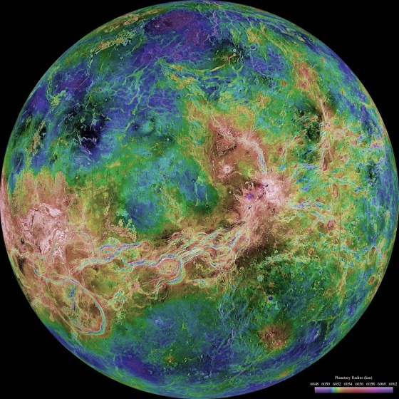 Magellan spacecraft radar data enabled scientists to penetrate Venus' thick clouds and create simulated views of the surface. Venus is a dim world of intense heat and volcanic activity.  Similar in structure and size to Earth, Venus' thick, toxic atmosphere traps heat in a runaway 'greenhouse effect.' The scorched world has temperatures hot enough to melt lead. Glimpses below the clouds reveal volcanoes and deformed mountains. Venus spins slowly in the opposite direction of most planets. However, NASA scientists imagine sending astronauts to study Venus by floating them above the planet where the atmosphere is similar to that of Earth's. Credit for image and caption (NASA).