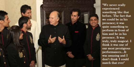 Mawlana Hazar Imam with performers at the Institutional Dinner in India in 2013. Seen in the photo are star performers Sulaiman Merchant (left, in white) with his brother Salim (at right of Hazar Imam), who was interviewed by Qayl during their recent North American tour. Photo: The Ismaili/Nazim Lokhandwala. Copyright.