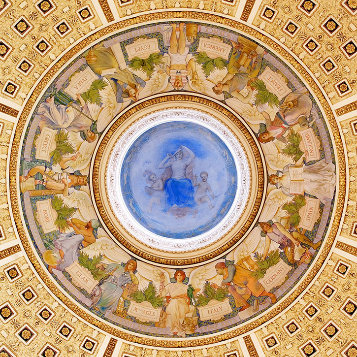 A photo of the dome of rotunda at the USA Library of Congress. The mural acknowledes countries which have contributed to the development of civilization including. Judea for religion, Greece for philosophy, Rome for administration and Islam for physics. Created by artist Blashfield, Edwin Howland Blashfield (1848-1936) between 1896 and 1900?. Credit: Library of Conbgress.