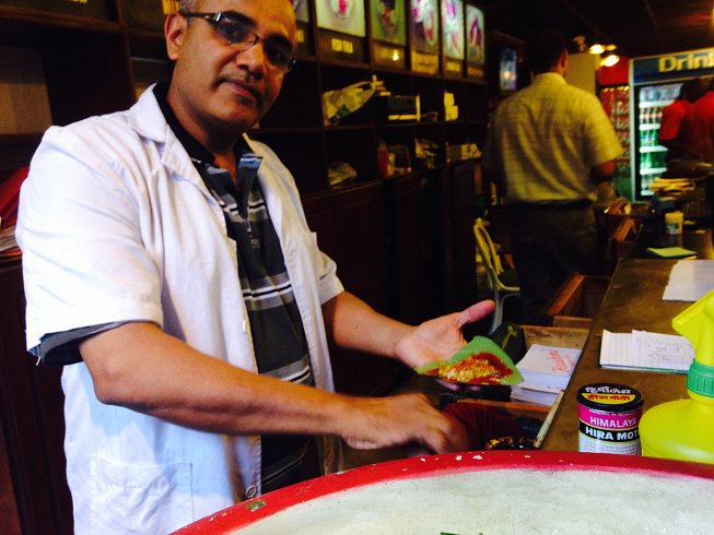 Farouk Panwalla with all the Paan ingredients before the leaf is folded. Photo: Shariffa Keshavjee