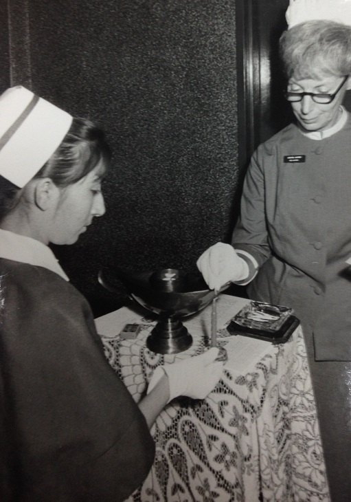 The young Kundanben. left, with her white gloves which were a necessity when serving dignitaries.  Photo: Kundan Paatni Archives