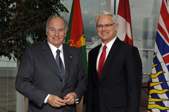 Mawlana Hazar Imam at a luncheon hosted by Premier Gordon Campbell that was attended by community, education and business leaders in honour of Mawlana Hazar Imam's Golden Jubilee visit to British Columbia. Gary Otte