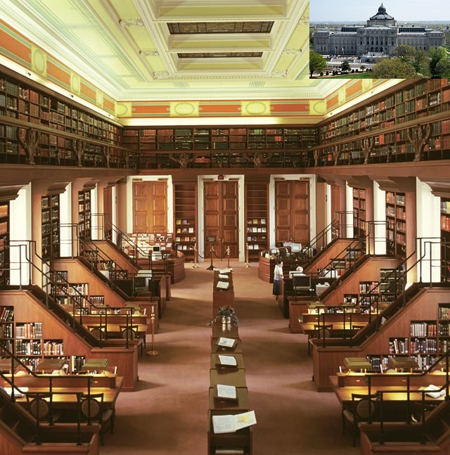 A view of the African and Middle Eastern Reading Room at the Library of Congress in Washington, D.C. Inset the Main Building. Photo: Library of Congress, USA.