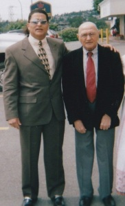 Enoo with his beloved dad in 2005 at the Vancouver mulaqat with Mawlana Hazar Imam. Photo: Enoo archives.