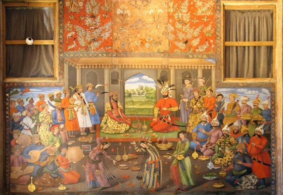 Painting at Chehel Sotoon in Iran depicting the Navroz meeting of the Safavid Shah Tahmasp with the fugitive Mughal Emperor Humayun. Photo: Wikipedia.