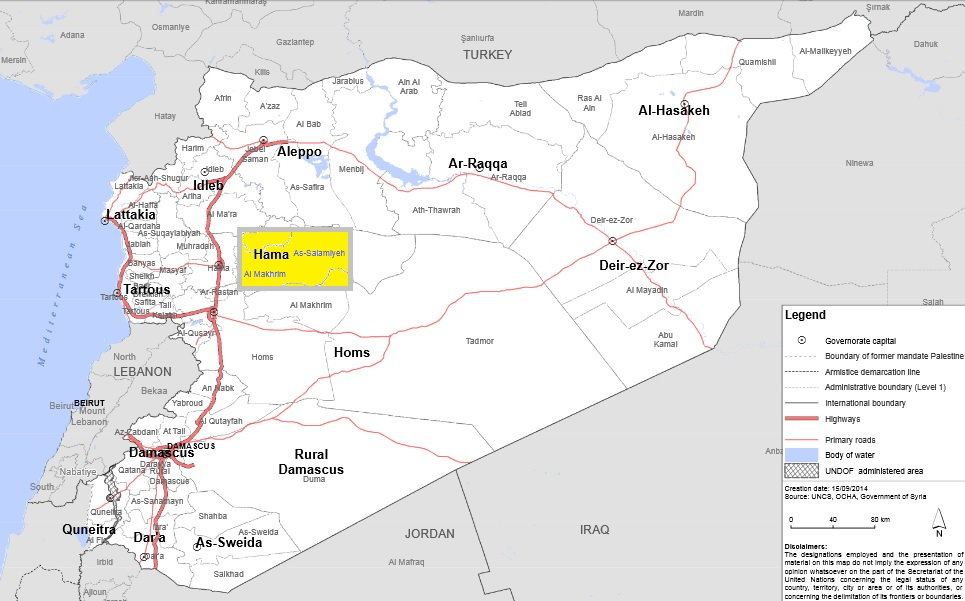 Salamiyah and surrounding areas shaded in yellow. Map: Adapted from UN Office for the Coordination of Humanitarian Affairs. Please click for enlargement.