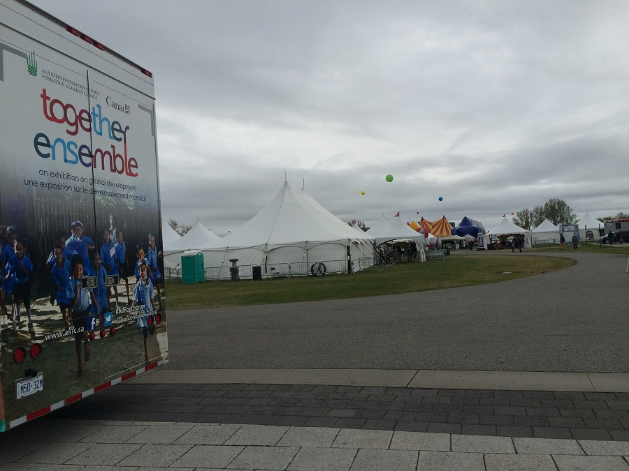The Together Exhibition Bus just metres away from  activity tents set up  for the Ottawa International Children's Festival. Photo: Malik Merchant/Simerg.