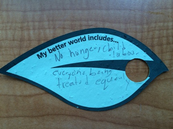 A young child's aspirations and hopes for a better world:
