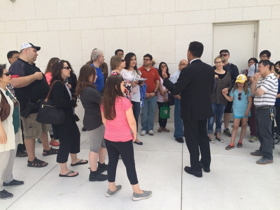 May 24th 2015 - Toronto's 16th Annual Doors Open. The Ismaili Centre, a briefing for visitors. Photo: Malik Merchant/Simerg. Copyright.