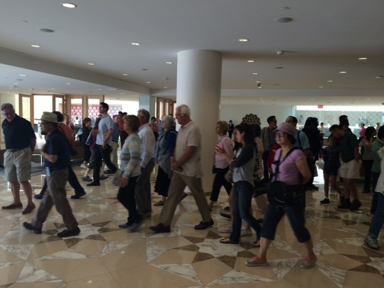 May 24th 2015 - Toronto's 16th Annual Doors Open. The Ismaili Centre. Visitors on the move to see other sections of the centre. Photo: Malik Merchant/Simerg. Copyright.