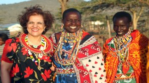 Senator Mobina Jaffer, left, pictured in Kenya.