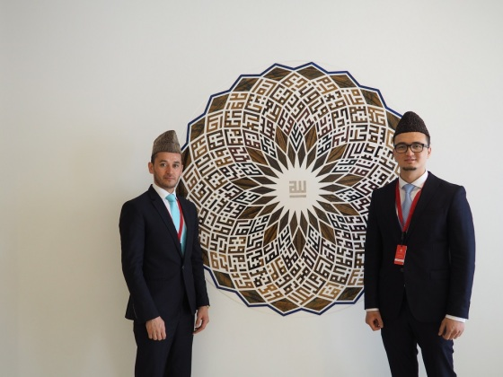 Qur'an reciter Ahsan Afzaly, left, with his back-up colleague, Edrees Amiri, pictured at the Ismaili Centre prior to the opening ceremony. Photo: Simerg/Malik Merchant.