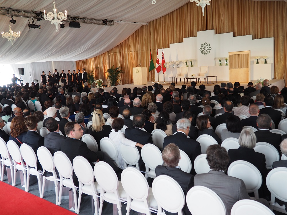 The audience listen to the Ismaili Muslim Choir prior to the arrival of Premier Kathleen Wynne and Mawlana Hazar Imam for the opening ceremony of the Aga Khan Park on May 25, 2015. Photo: Simerg/Malik Merchant