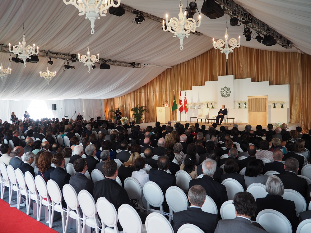 Premier Kathleen Wynne delivering her speech at the opening ceremony of the Aga Khan Park on May 25, 2015. This panoramic view shows the elegance of the event which was held inside a beautifully decorated tent built for the occasion. Photo: Simerg/Malik Merchant. Copyright.