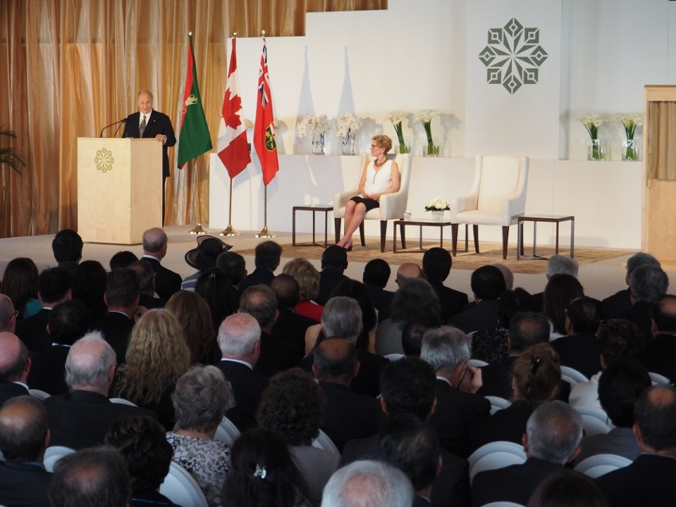Mawlana Hazar Imam addressing the audience at the opening of the Aga Khan Park on May 25, 2015. Photo: Simerg/Malik Merchant. Copyright.