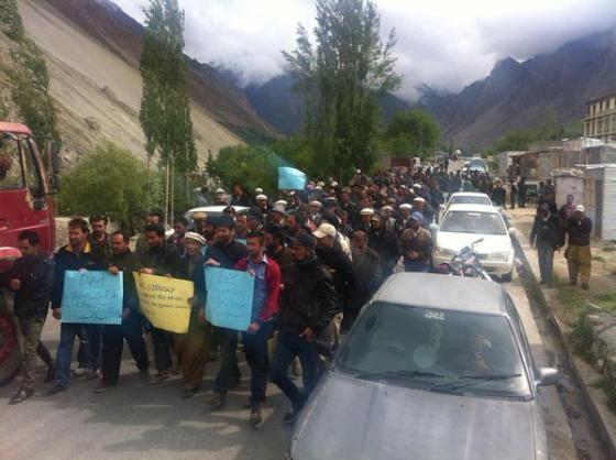 Peaceful protests at a demonstration held in Gulmit village of Upper Hunza against Safoora Chowrangi attack. Photo: Pamirtimes.net