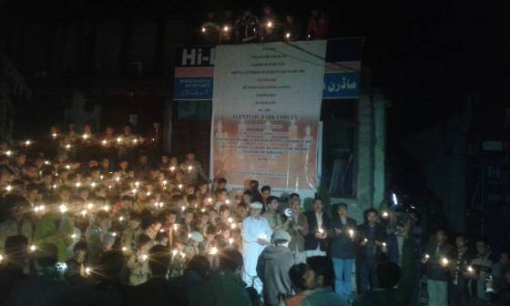 Civil society groups held candle-light vigils in different parts of Gilgit city and Karimabad (Hunza). Photo: Pamirtimes.net
