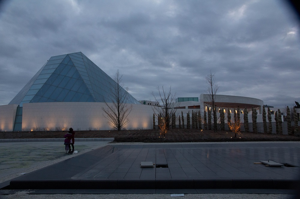 The  Aga Khan Park photographed in December 2014, with the Ismaili Centre in the background. Photo: Copyright. Rian Dewji, Toronto.