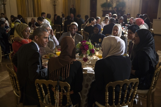 President Barack Obama hosts an Iftar dinner celebrating Ramadan in the East Room of the White House, June 22, 2015. (Official White House Photo by Lawrence Jackson).