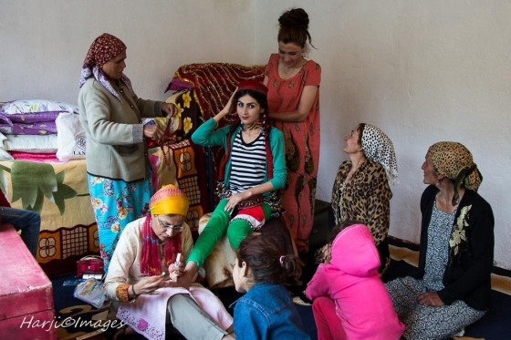 A bride-to-be is pampered with a manicure and pedicure before her wedding in a small village in the Pamirs.   Please click on image for Muslim Harji's photo essay.