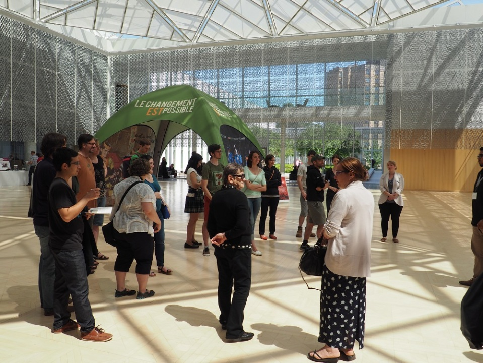 Visitors to the 2015 Doors Open at the main hall of the Delegetion of the Ismaili Imamat Building, which has a dome in the shape of a rock crystal. Photo: Simerg/Malik Merchant.