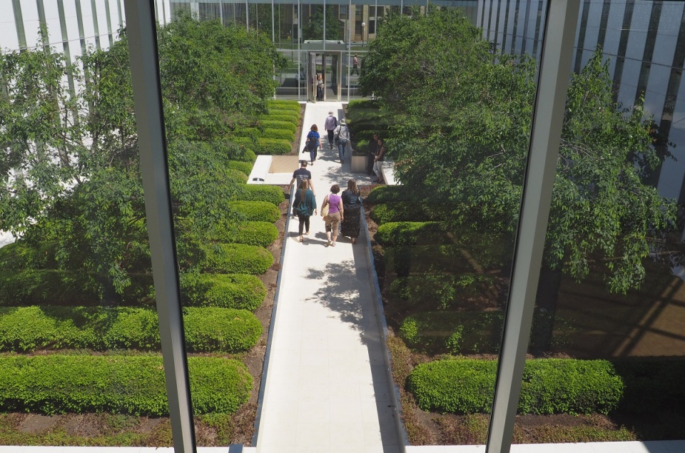 A view of the garden (the Char-baagh) from the upper level of the Delegation of the Ismaili Imamat Building. Photo: Simerg/Malik Merchant.