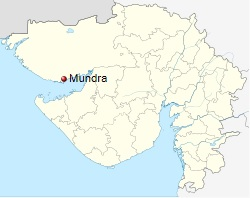 Location of Mundra in the Kutch district of  India's Gujarat State. Image: Wikipedia.