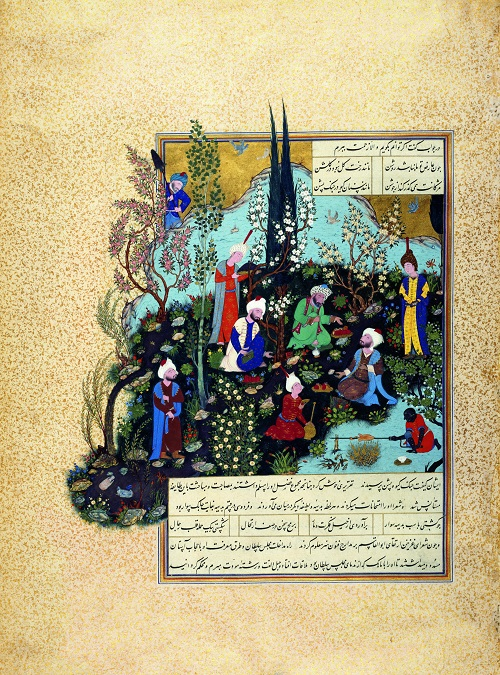This illustration is from Shah Tahmasp I's Shahnameh, one of the most remarkable Persian manuscripts, which was started when Shah Tahmasp returned to Tabriz from Herat in 1522. This illustration shows Firdausi, the author of the written version of the Shahnameh, with the three poets of the court of Mahmud, the sultan of Ghazna, a city which is now in modern-day Afghanistan. Firdausi left Tus, his native city, in northeast Iran, to seek out the patronage of the sultan for his Shahnameh. Before meeting with the sultan, he was confronted by three poets of the court who cornered him before finally acknowledging his superior talent. In this miniature painting a small black servant roasts a bird on a spit while young fine-faced boys bring wine and delicacies to the three Ghazna poets, seated, in the centre of the picture, on the grassy bank of a stream of water. Firdausi's isolation is emphasized by his position to the extreme left of the main group, just where the composition spills over into the margin. Photo and caption credit: Aga Khan Museum, Toronto, Canada. Copyright.